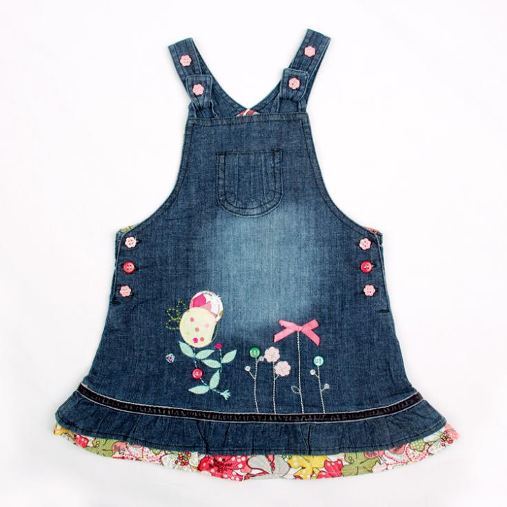 Dresses Vestido Peppa Free Shipping H2706# 12m-5y Beautiful Butterfly Embroidery And Colourful Buttons Summer Dress For Girls(China (Mainland))