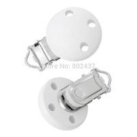Wholesale - Wood Baby Pacifier Clip Round White 4.4cm x 2.9cm,5PCs  (B36598)