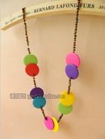 New female Sen female line art style colorful wooden bead pendant necklace pendant jewelry Coconut Beach