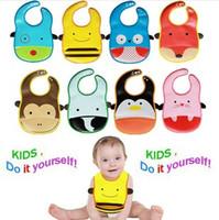 10pcs/lot 2014 Hot Sale PVC Baby Bib Infant Saliva Towels kids Waterproof Bib Cartoon Baby Wear 10 colors free shipping
