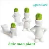 4pcs/set Home Decoration Mini DIY White Man Magic Grass Planting Creative Lovely Gifts Plant Hair Man Office Decoration