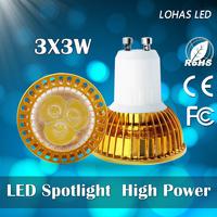 1PCS [CRAZY PROMOTION] LED Spotlight 9w/12w/15w led lamps 110v/120v/220v/240v led bulbs high brightness led lights gu10 base