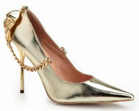 Most Promotion Brand Women Pointed Toe Lions Chains Pumps 2014 High Heels Shoes