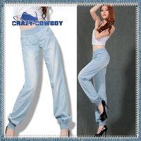 Summer New Fashion Brand Light Weight Loose Plus Size Denim Trousers Jeans Light Blue Long Vintage Wide Leg Pants For Women 2014
