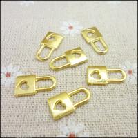 200 pcs Charms Heart Lock Pendant  Gold color  Zinc Alloy Fit Bracelet Necklace DIY Metal Jewelry Findings
