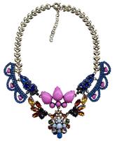 2014 European Women Handmade Statement Exaggerate Big Rhinestone Flowers Chunky Shourouk Necklaces & Pendants ND8033
