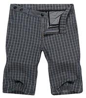 Free shipping 2014 summer new men's business cotton big plaid half length straight pants,beach pants,Korean fashion style