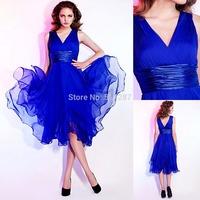 Vestido De Festa 2014 Sexy V Neckline Tank Pleat Knee Length Royal Blue Chiffon Cocktail Dresses Short Party Dress