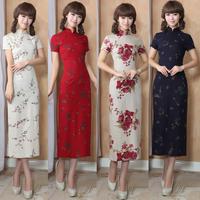 Summer print linen low vent stand collar comfortable short-sleeve slim cheongsam Linen dress design long cheongsam  qipao