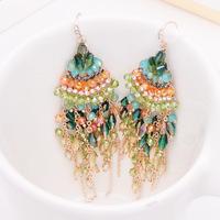 wedding Handmade beaded vintage Bohemian crystal earrings upscale jewelry wholesale gold plated earrings