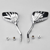 Universal Motorbike Skeleton Skull Motorcycle Rearview Side view Mirrors Chrome #3452*2
