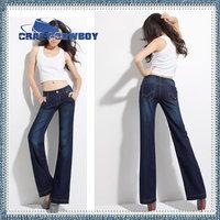 Hot sale fashion 2014summer mid waist long denim jeans trousers womens brand light / dark blue wide leg pants plus size