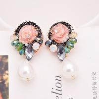 perolas High-end micro- pearl inlaid jewelry handmade earrings retro flowers big stud earrings
