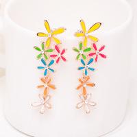 brinco perola High quality flowers drip -free pierced earrings spiral on earrings for women