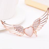 (Left Ear) Single  jewelry punk style angel wings super heart-shaped ear bone color retention clip jewelry ear cuff earrings