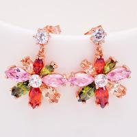 stainless steel earrings Korean high- grade bright atmospherewedding night zircon earrings  pendientes