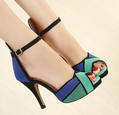 Donne sexy 10cm sottile sandali tacco alto con il cinturino alla caviglia peep dita dei piedi da donna 2014 estate designer del brand patchwork partito/scarpe da sera