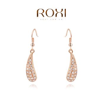 Roxi элегантные женские удлиненные серьги ручной работы, изготовлены из розового золота (позолота), с трех разовым золотым напылением, серьги каплеподобной формы, украшены австрийскими кристаллами, шикарный дизайн