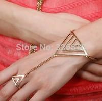 New 2014 Punk metal gold triangle ring one hand chain 1.129USD/PCS mini order 10pcs!