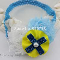 Mini order 1pcs Baby girl headband lace chiffon shabby flower headband with pearl bow Newborn & Infant photography prop