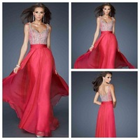 S013 Free Shipping Special Discount Dresses In Store! Spaghetti Straps Shining Beaded Chiffon Long Prom Dress
