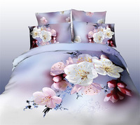 3D bedding sets bed cherry Peach blossom white pink comfoter cover bedsheet pillow cases queen size bedding linens 3d B2696