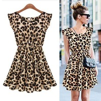 Details about Ladies Sexy Leopard Swing Mini Dress Crewneck Tunic Skater Party Down Sundress