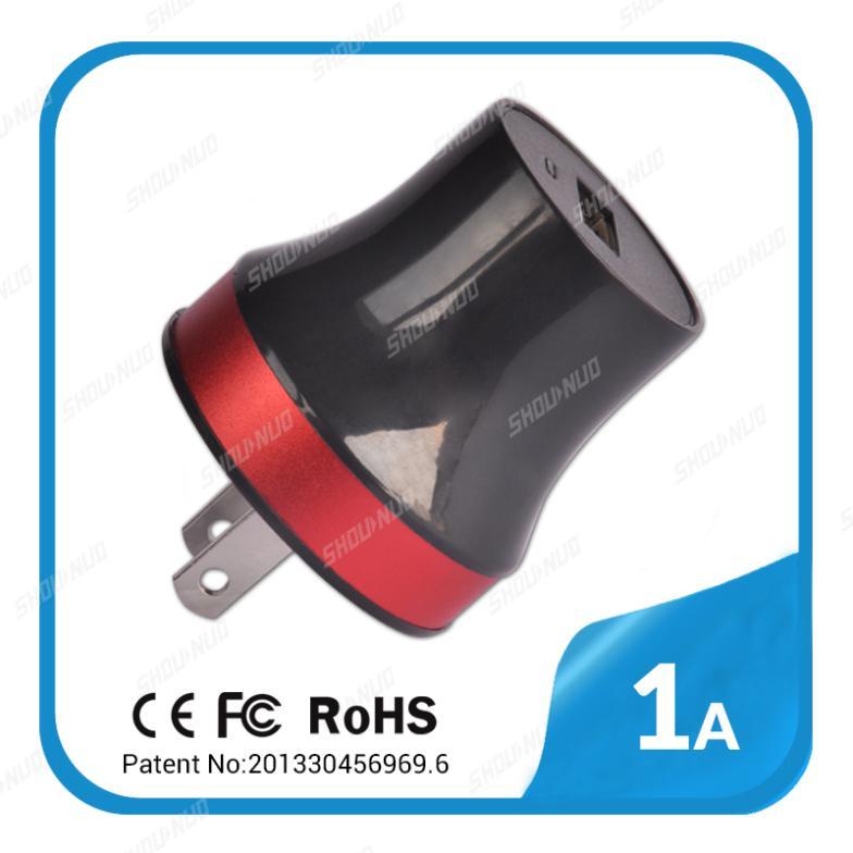 high quality single's usb port 5V 1A Ac universal home charger for samsung galaxy s2 s3 s4 s5 note2 3 UK EU US plug CE ROHS FCC(China (Mainland))
