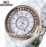 Hot ! Luxury Gold WELASIDN Decorative Diamond & White Ceramic Classics Lady Calendar Women Clock Dress Girls Quartz Hand Watch