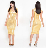 Details about Club gold PU dress sexy cultivate one's morality dress Bright dresses