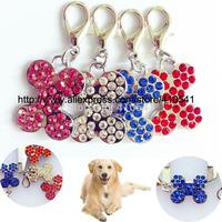 New arrival pet tags Mix Colors 200 Pcs/ Lot dog id Tags Rhinestone Dog Bone Shaped tags puppy dog cat id tags free shipping