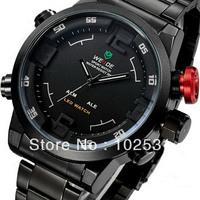 Fast Shipping Luxury Weide New Mens Dual Time Dial LED Digital Quartz Alarm Black Steel Sports Military Army Wrist Watch
