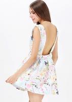 HIGH QUALITY!  light blue print flower backless women's dress girl fashion dress XS-XXL, 141516228