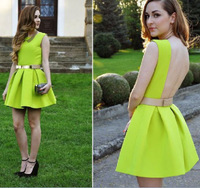 Details about Women Sexy Backless Sleeveless Party Ball Prom Short Pleated Dress Without Belt