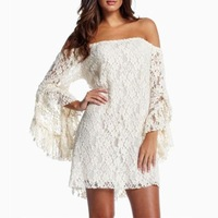 Details about NEW Sexy Lady's Lace Floral Strapless mandarin sleeve Women's dress Party Mini Dress