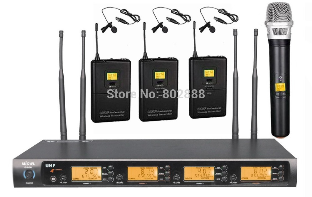 Pro 4x100 frequency Channel Wireless Karaoke Microphone Mic Set - 3 Bodypack with Lavalier and 1 Handheld(China (Mainland))