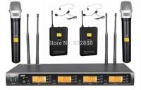 Pro 4x100 frequency  Channel 2 Wireless Headset + 2 Handheld Microhone  Wireless Karaoke Microphone Mic Set