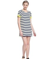 Details about The new fashion show thin round collar color stripe dress club wear