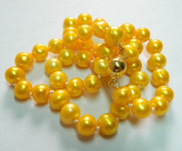 Charming 7-8mm Yellow Akoya Pearl Necklace
