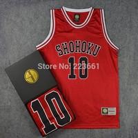 Free Shipping Shohoku #10 SAKURAGI Jersey Cheap Slam Dunk Shohoku Basketball Jersey M-XXL high school college With Original Box