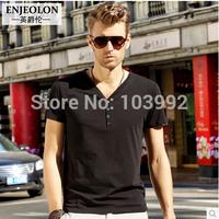 Plus Size M-XXL Solid cotton men's short sleeve V-neck T shirt British style Cotton Tops&Tees ,men  clothing supplier