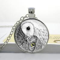Wholesale Glass Dome Jewelry Yin Yang Owl Necklace Bird Jewelry Zen Nature Art Pendant Glass Cabochon Necklace 25mm