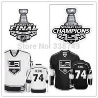 Cheap 2014 Men's Ice Hockey Jersey LA Los Angeles Kings #74 Dwight King Jersey W2014 Stanley Cup Champions Patch,Size 48-56