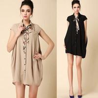 2014 Fashion Cute Dress Women's Preppy Style Irregular Bowknot Loose Brand Dress LCW1407