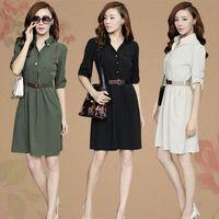 Soft Comfortable Summer Autumn Fashion New 2014 Korean Plus Size OL Women Female Slim Elegant Half Sleeve Work Dress With Belt