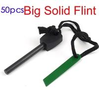 50pcs lot survival magnesium flint stone fire starter lighter 8mm fire maker flint rod and stell