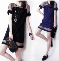 Free shipping the new Europe and America sexy net yarn stitching chiffon short sleeve dress bottoming dress 9802
