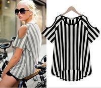Hot Sale Brand Harajuku Tshirt For Women Strapless Cut Out Stripe Fashion Girl Shirt Tops Tees JL053-6860