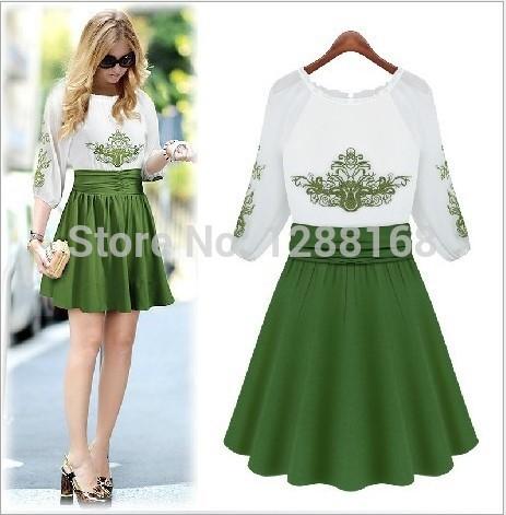 Free shipping Fashion European new women summer embroidery derss folk style female Cute Mini Dresses(China (Mainland))