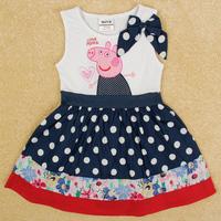 Free Shipping New Design Peppa Pig Dress Short Sleeve Girl's Dresss Peppa Pig Girl Clothing Fashion Girls Summer Dress